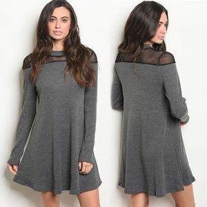Dresses & Skirts - Charcoal knit dress long sleeve ribbed dress LAST2